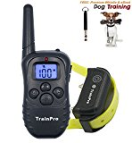 TrainPro PRO998 Electronic Dog Training Shock Collar 330 Yard Rechargeable Waterproof e-Collar System with Tone | Shock | Vibration Plus BONUS eBook and Dog Whistle
