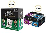 Dog Food Bundle CESAR Filets in Sauce Adult Wet Dog Food 12 Count and Classics Poultry Flavored Adult Wet Dog Food Trays 24 Count