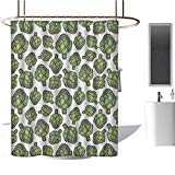 MKOK Fabric Shower curtain60 x72 Artichoke,Detailed Drawing of Super Foods Fresh Vitamin Sources Natural Nutrition Source Forest Green,100% Polyester Fabric Bathroom Drapes