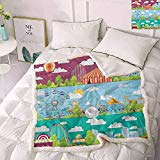 Zara Henry Circus Bed Fleece Blanket, Conceptual City Banners with Carousels Slides and Swings Ferris Wheel Attraction Wool Blanket (Multicolor, 45x60 Inch)